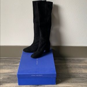 6.5M Stuart Weitzman Knee High Black Suede Botto
